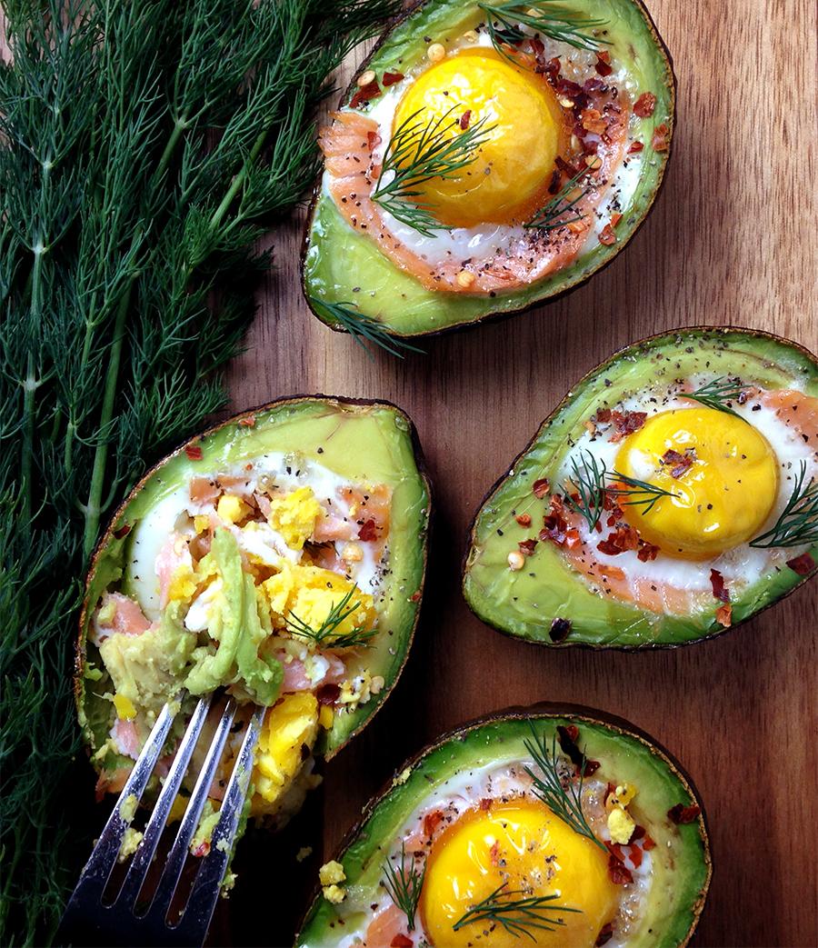Smoked Salmon Egg Stuffed Avocado   GrokGrub.com