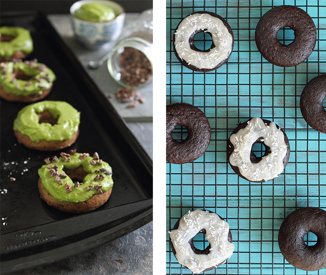 Grain-Free, Paleo Chocolate Donuts with Coconut Vanilla Bean Icing and Chocolate Avocado Donuts by Running to the Kitchen (#NationalDonutDay Roundup) | GrokGrub.com