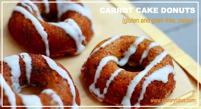 Grain-Free, Paleo Carrot Cake Donuts by Savory Lotus (#NationalDonutDay Roundup) | GrokGrub.com