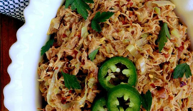 Spicy Shredded Chicken Salad (Grain/Dairy/Nut-Free, Paleo) | GrokGrub.com