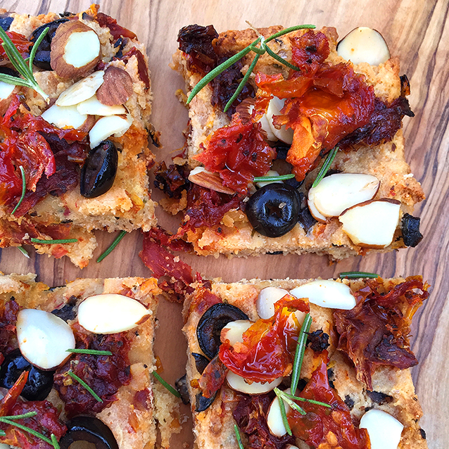 Sundried Tomato Ripe Olive Focaccia (grain-free, dairy-free, paleo) | GrokGrub.com