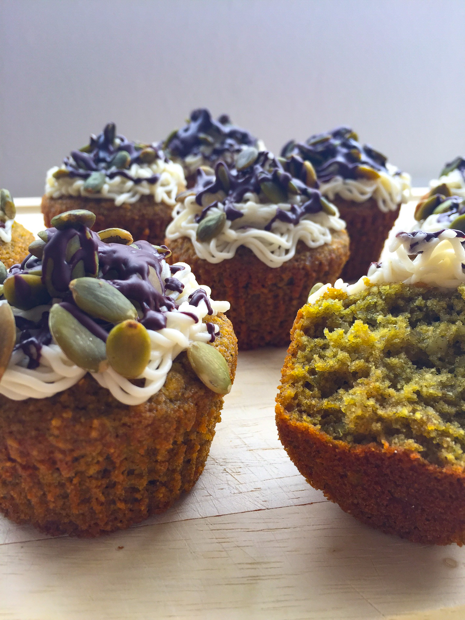 These green pumpkin-seed cupcakes feature moringa: a vitamin-rich superfood plant that's more nutritious than kale! #healthy #glutenfree #paleo | Fresh Planet Flavor
