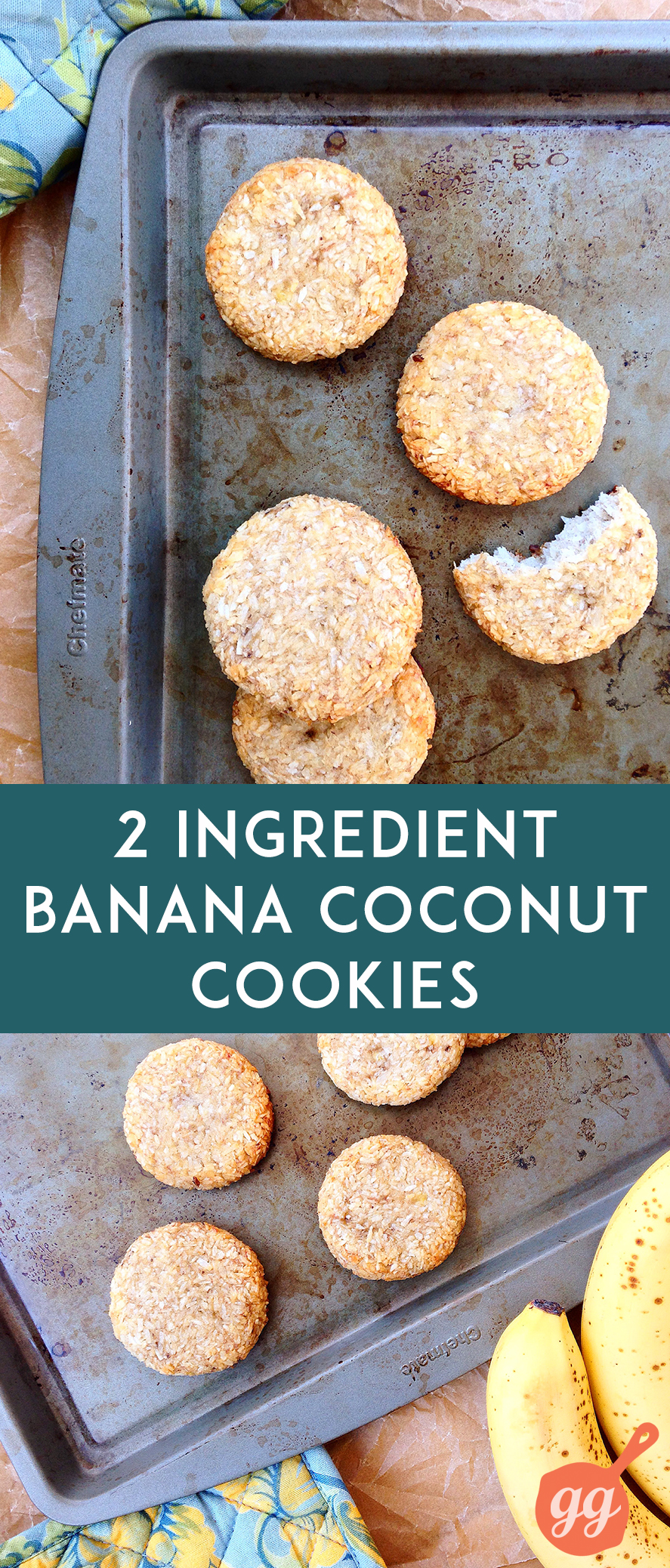 2 Ingredient Banana Coconut Cookies | GrokGrub.com #paleo #vegan #healthy