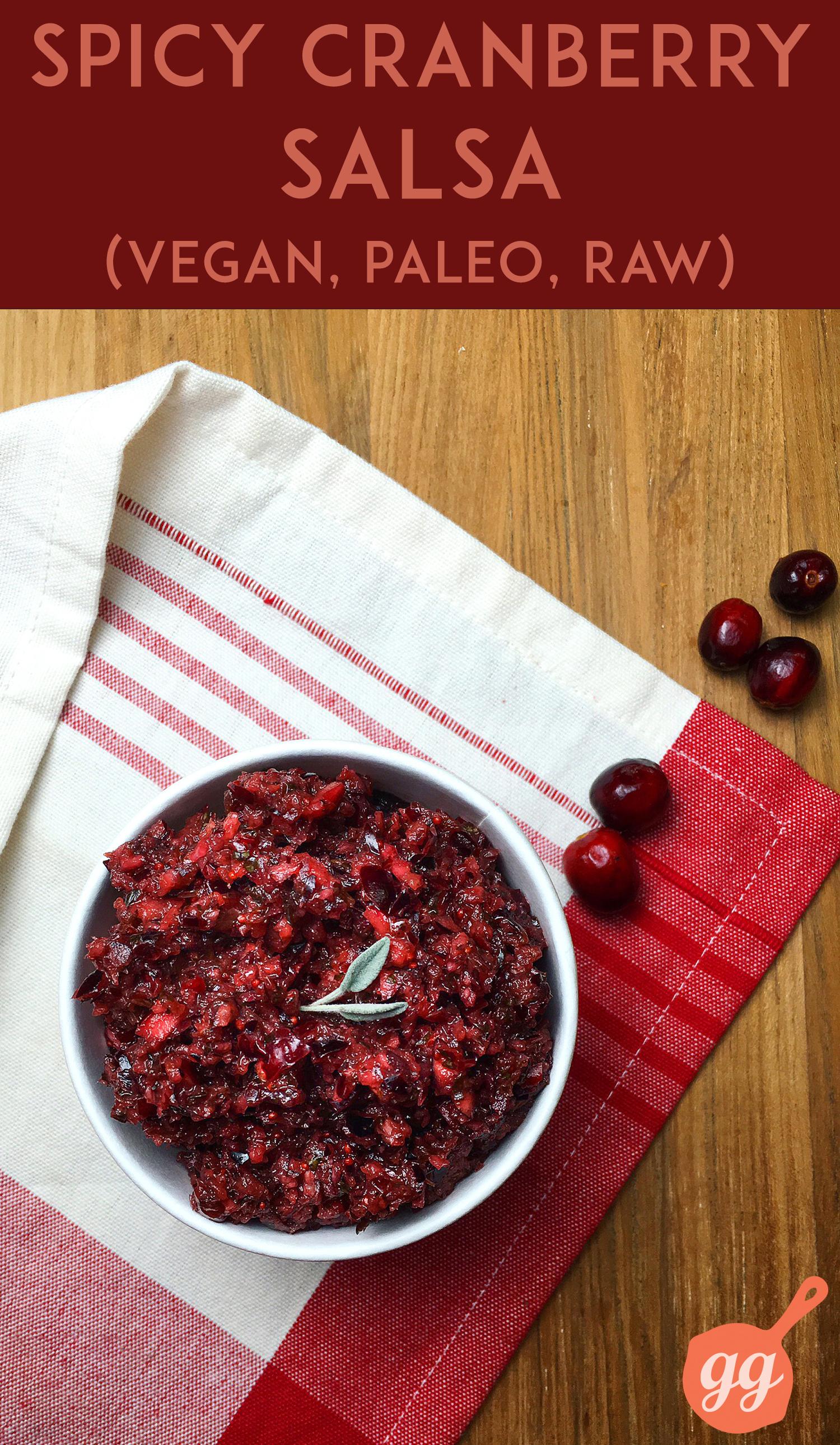 Spicy Cranberry Salsa | GrokGrub.com #paleo #vegan #raw #thanksgiving