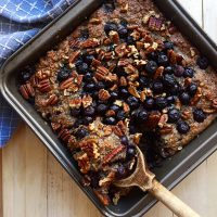This wholesome Blueberry Baked N'Oatmeal is naturally sweetened with blueberries and banana! Make some now for the rest of the week! | GrokGrub.com
