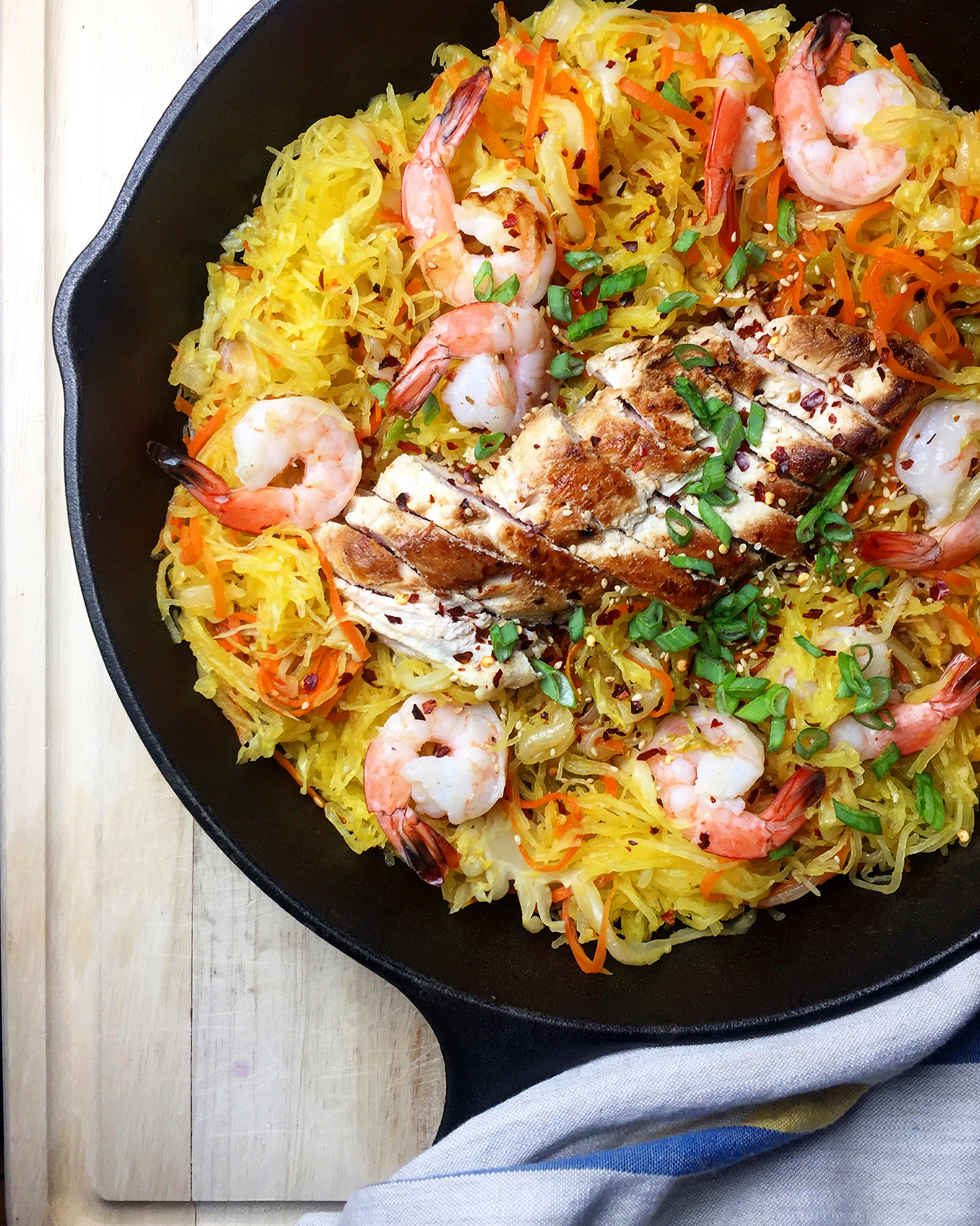 One-Pan Spaghetti Squash Chow Mein is stuffed with veggies and healthy protein! Recipe on GrokGrub.com