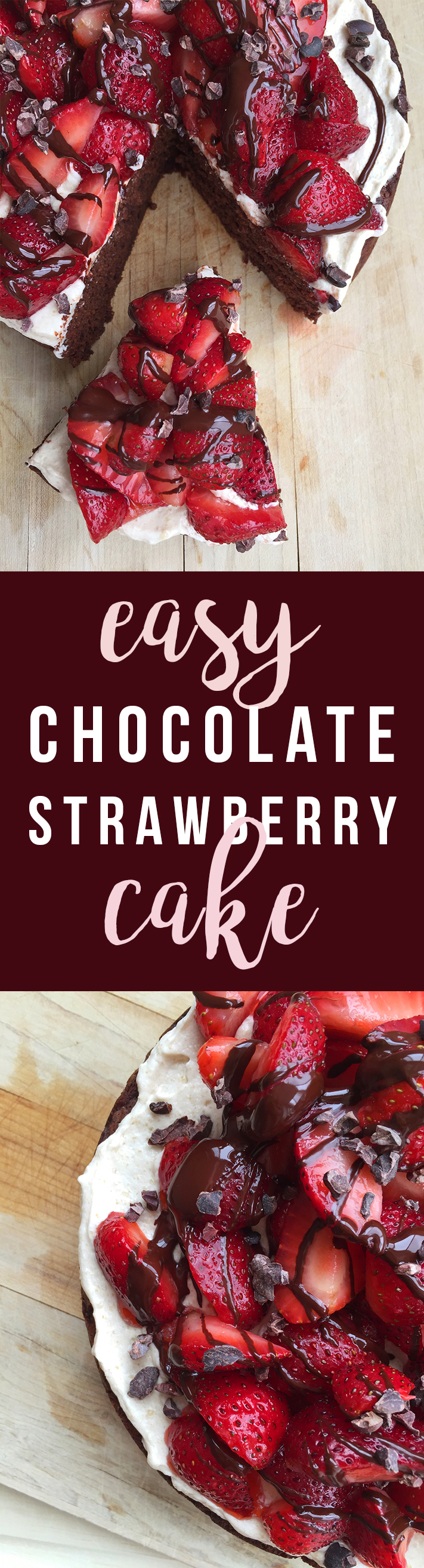 This delicious Easy Chocolate Strawberry Cake (grain-free, nut-free, dairy-free, fruit sweetened) can be as simple or as decadent as you choose. Click to read the recipe or pin to save for later! | GrokGrub.com