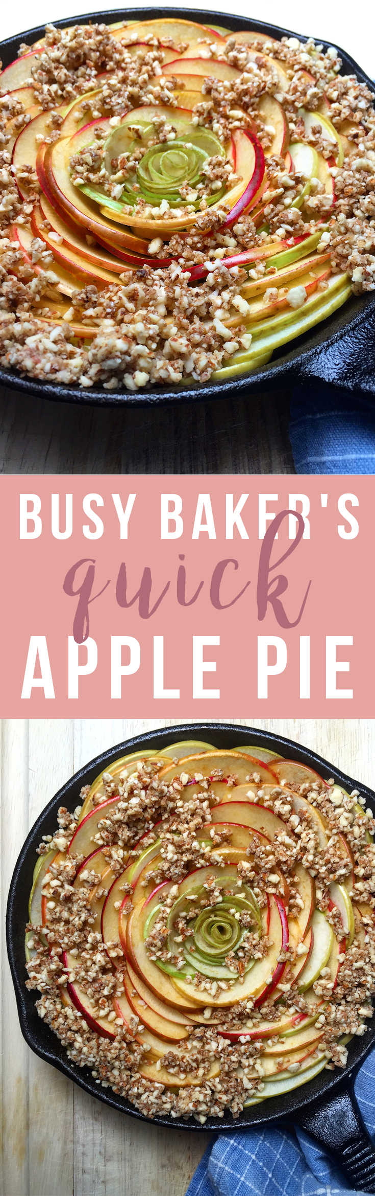 Busy Baker's Quick Apple Pie: this is an easy variation on apple pie that's both fast and delicious! Perfect if you're looking to get the flavor of apple pie but with less added sugar and no gluten, artificial flavors, or fillers. Click to read the recipe or pin to save for later! GrokGrub.com
