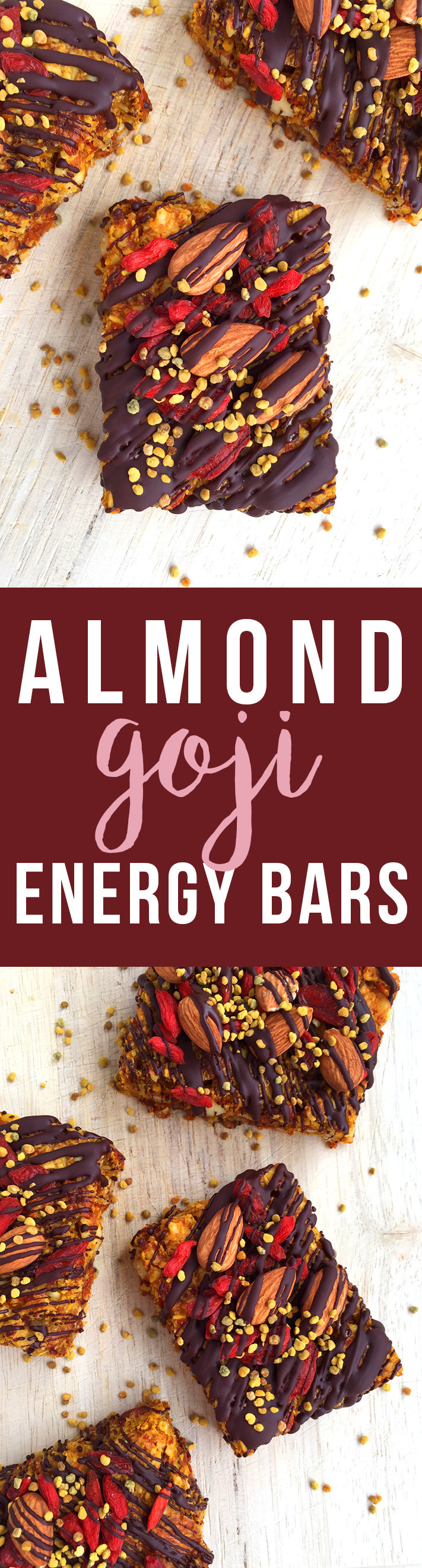These grain-free Almond Goji Energy Bars are made of just nuts, fruit, coconut, eggs and love! (Drizzle with unsweetened chocolate if desired) | Fresh Planet Flavor></a></div> <div class=