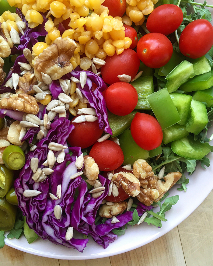 Balanced Salad: Some tips on what to keep on hand to make big, filling, easy salads. Click to read more...
