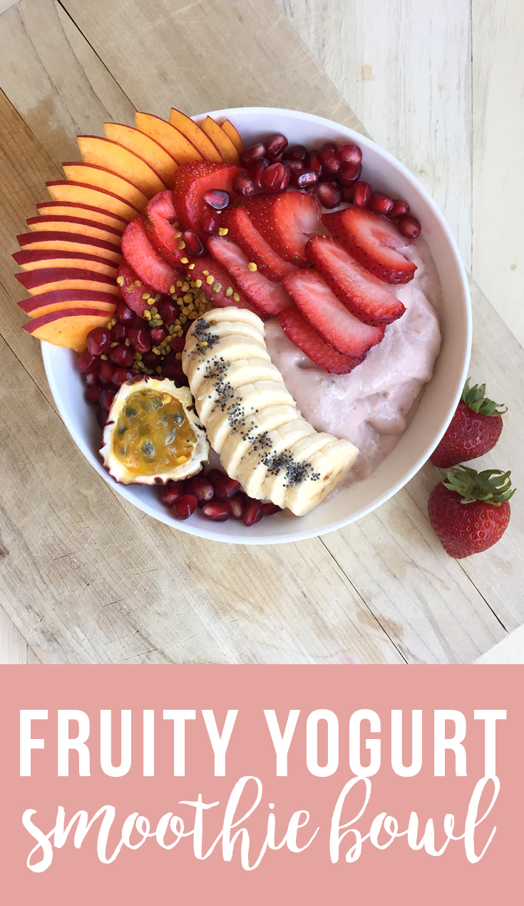 This easy yet exotic Fruity Yogurt Smoothie Bowl is like a tropical paradise you can eat with a spoon! (dairy free, paleo, vegan) | Fresh Planet Flavor
