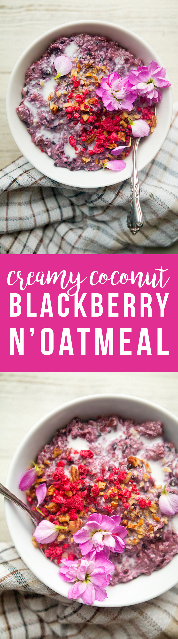 Creamy Coconut Blackberry N'Oatmeal: besides being quick and easy to make, I love this because it's low-sugar, low-carb, filling, and a beautiful blackberry color.