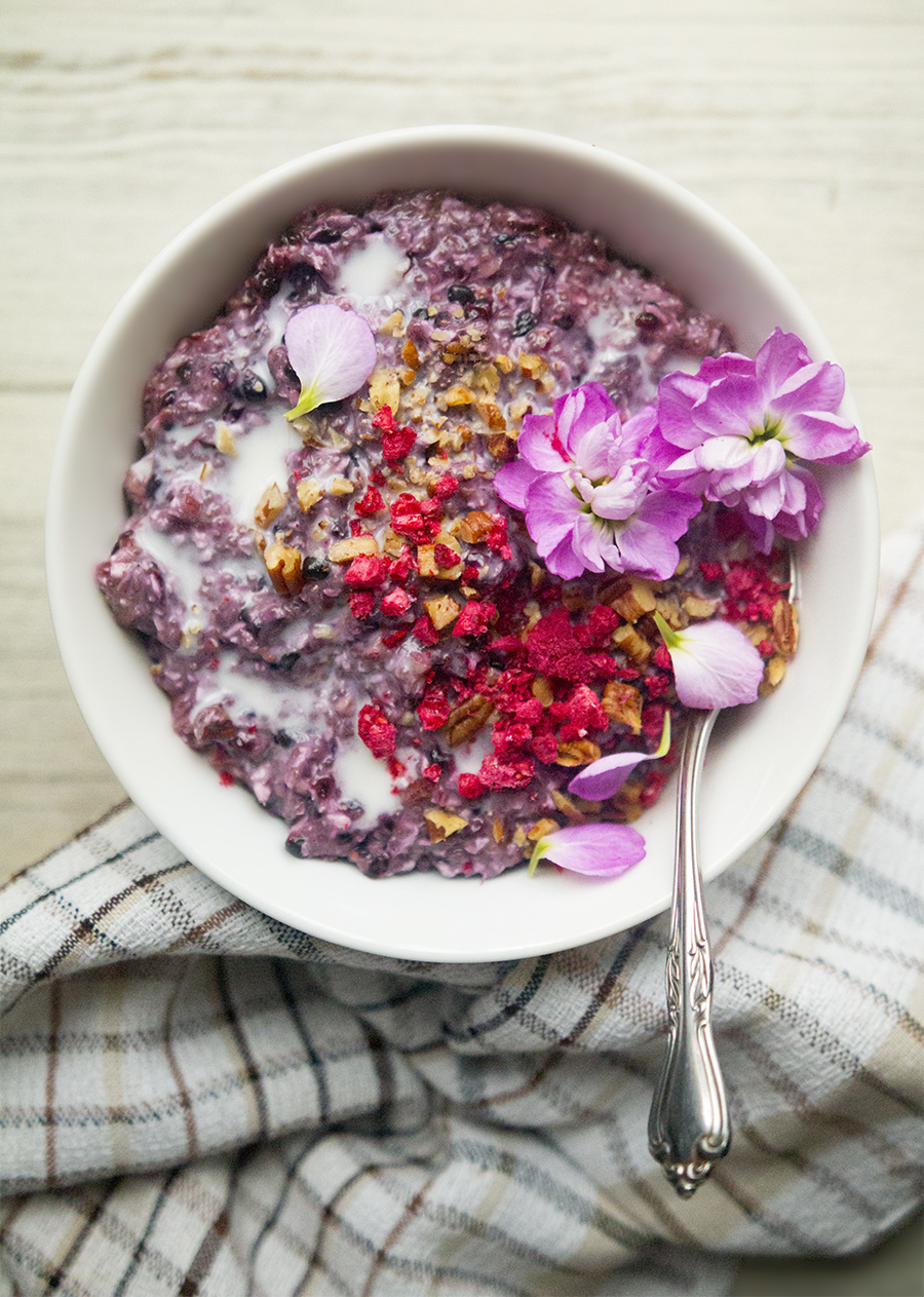 Creamy Coconut Blackberry N'Oatmeal: Besides being quick and easy to make, I love this because it is low-sugar, low-carb, filling, and a beautiful blackberry color.