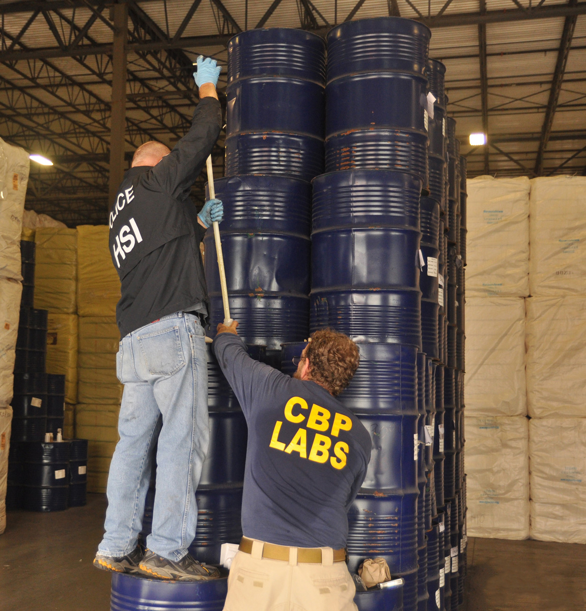 660 barrels of Chinese honey confiscated by U.S. Immigration and Customs Enforcement agents in Houston that were labeled as originating from Latvia. (Credit: U.S. Immigration and Customs Enforcement)
