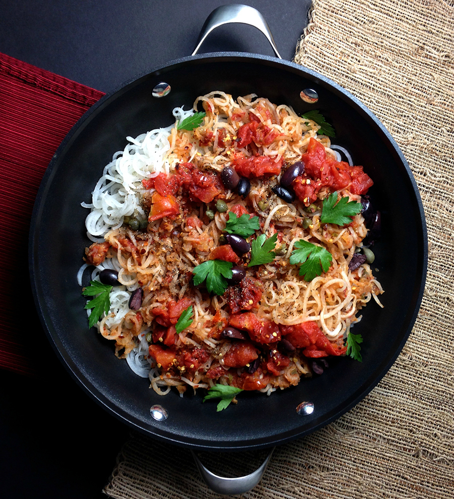 """My Paleo """"Pasta"""" Puttanesca (parsnip noodles) recipe is a combination of strong flavors: anchovies, capers, garlic, Greek olives, chili flakes, peppery parsnips. 