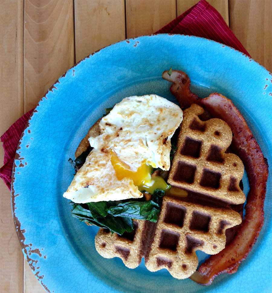 Savory sweet potato waffles are a perfect pairing with egg and bacon or fruit and syrup!