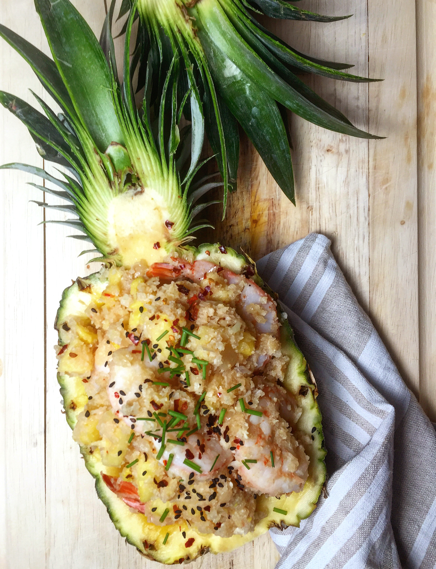 Pineapple Shrimp Stir Fry is an easy one-skillet meal with tropical flair and a healthy serving of vegetables built in…   GrokGrub.com