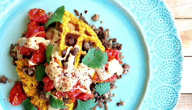 Curried Carrot Fritter Stack (Grain/Dairy-free, Paleo) | GrokGrub.com