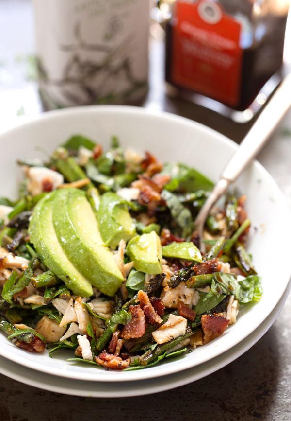 Chicken Bacon Avocado Salad with Roasted Asparagus - 12 Fresh Avocado Recipes   GrokGrub.com