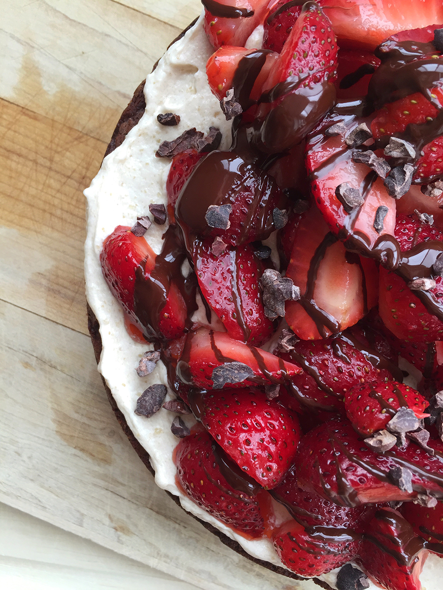 This delicious Easy Chocolate Strawberry Cake (grain-free, nut-free, dairy-free, fruit sweetened) can be as simple or as decadent as you choose!