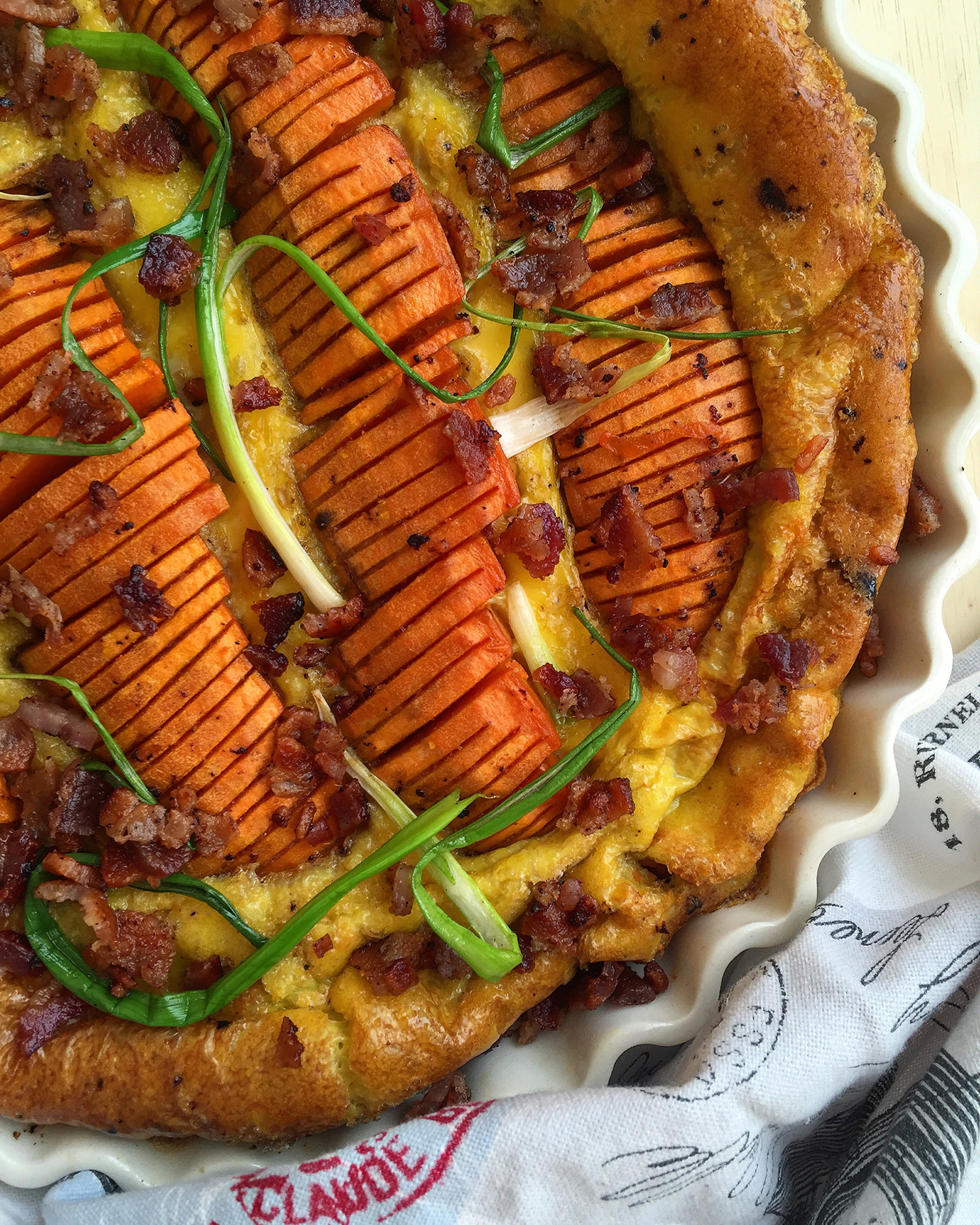 This sweet potato frittata is an easy rendition of the wonderful breakfast combination of sweet potatoes, eggs and bacon (grain-free, dairy-free, nut-free)   GrokGrub.com