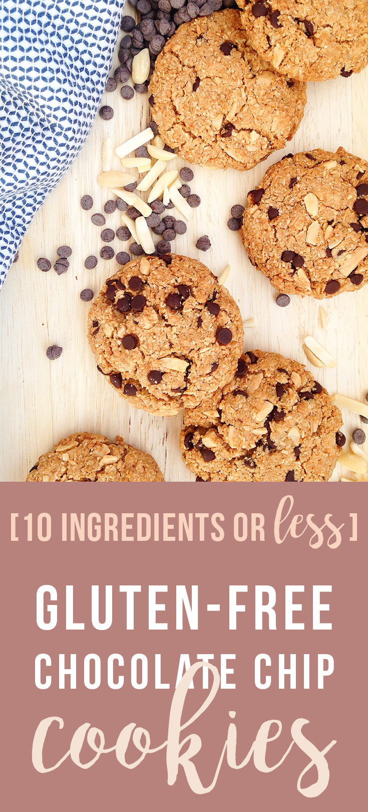 10 Ingredients or Less: these easy Gluten-Free Chocolate Chip Cookies are simple and delicious with less sugar, and no gluten, preservatives, or artificial flavors. Click to read the recipe or pin to save for later!   Fresh Planet Flavor #glutenfree #healthy #cookies #10ingredientsorless