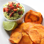 Baked Sweet Potato Crisps With Bacon Guacamole: 75 Healthy Kid-Friendly Snacks (allergy-friendly for every occasion)   GrokGrub.com
