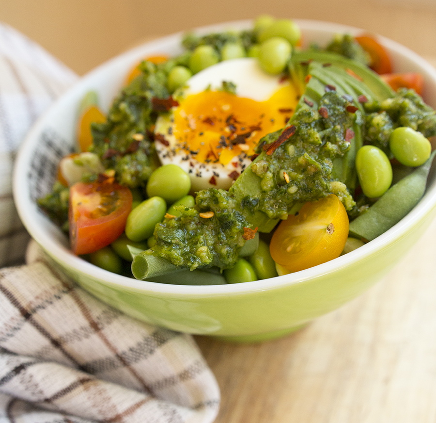 This Vegan Parsley Pesto with egg and avocado is a quick (and delicious) way to use up both leftover herbs and nuts at the same time.