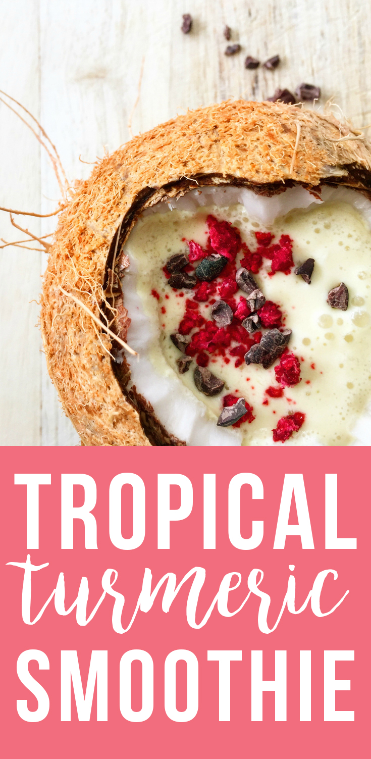 This Tropical Turmeric Smoothie is loaded with nutrients and healthy fats for a delicious, filling, healthy breakfast! | Fresh Planet Flavor