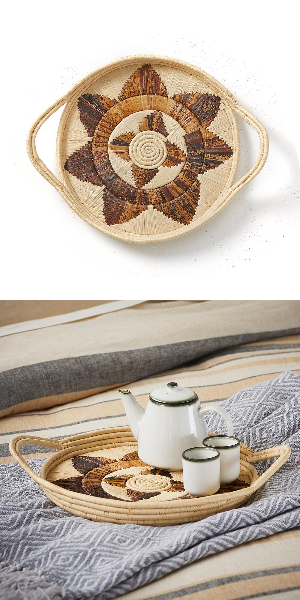 Fair Trade Baskets and Woven Bowls - Kampala Basket Tray
